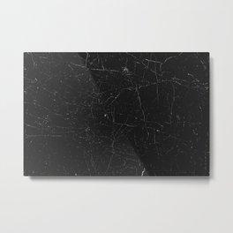 Black distressed marble texture Metal Print