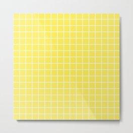 Corn - yellow color - White Lines Grid Pattern Metal Print