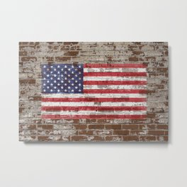 Old Glory on Brick United States Flag American Flag US Standard Metal Print