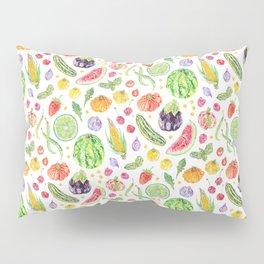 Summer Harvest Pattern White Pillow Sham