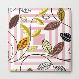 Rose Quartz, Clouds and Plants Metal Print