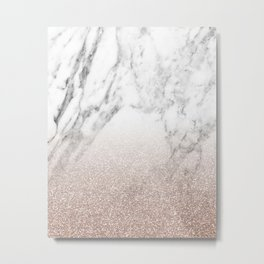 Marble sparkle rose gold Metal Print