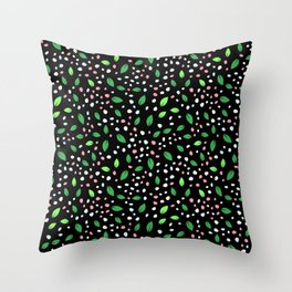 Spearmint Green Leaves Petit Pattern With Pink & White Petals Throw Pillow