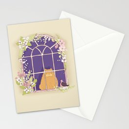 Kitty Cat In A Springtime Window With A Fancy Friend Stationery Cards