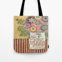 mom Tote Bags featuring Mom by Jamie Morath Art