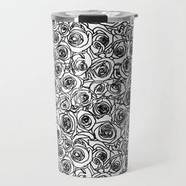 Seamless black and white rose line drawing Travel Mug