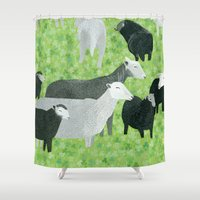 sheep Shower Curtains featuring Sheep by Yuliya