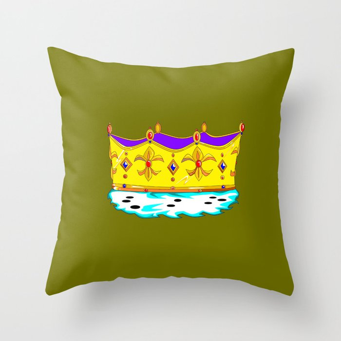 A Royal Crown with a Green Background Throw Pillow