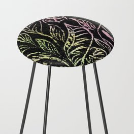 green and pink plant pattern Counter Stool