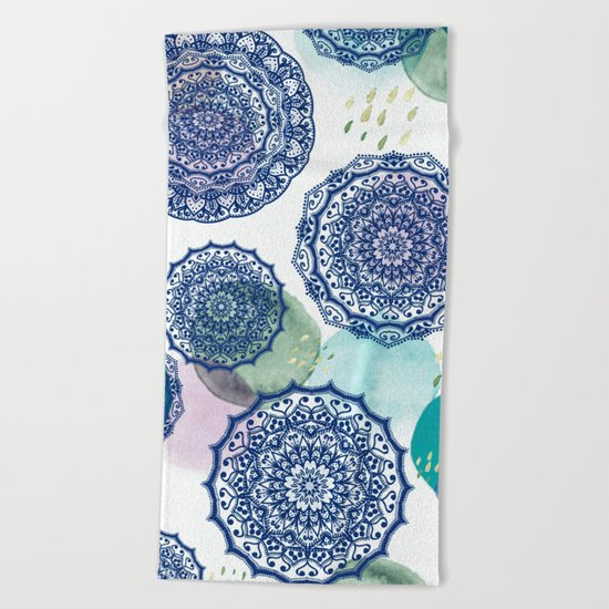Fall Love Mandala in Blue Beach Towel