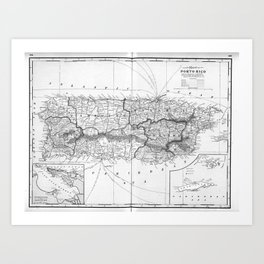 Vintage Map of Puerto Rico (1901) BW Art Print