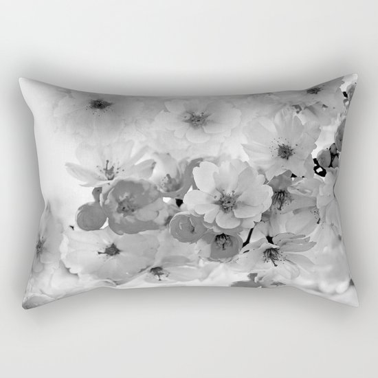 CHERRY BLOSSOMS IN BLACK AND WHITE Rectangular Pillow
