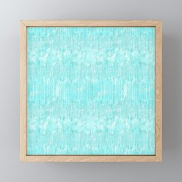 Abstract modern teal white watercolor brushstrokes pattern Framed Mini Art Print