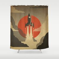 voyage Shower Curtains featuring The Voyage (Grey) by Danny Haas