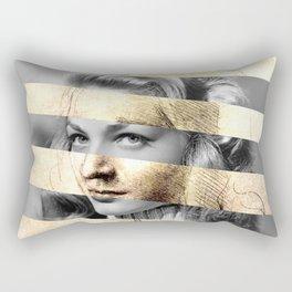 """Leonardo Da Vinci's """"Head of a Woman"""" & Lauren Bacall Rectangular Pillow"""