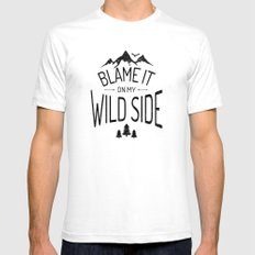Blame It On My Wild Side SMALL White Mens Fitted Tee