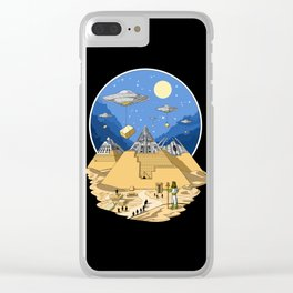 Alien Egyptian Pyramids Clear iPhone Case