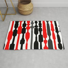 red black grey white geometric striped pattern Rug