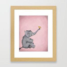 A Little Birdie Told Me - Elephant and Bird Framed Art Print