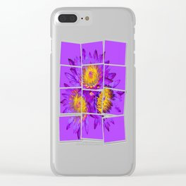 Exotic Tropical Purple Water Flowers Clear iPhone Case
