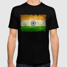 National flag of India - Vintage version MEDIUM Mens Fitted Tee Black