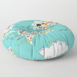 Cartoon animal world map for children and kids, Animals from all over the world Floor Pillow