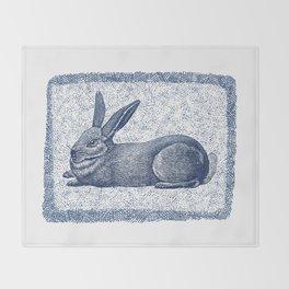 Rabbit print, Vintage Rabbit, Animal Wall Art Throw Blanket