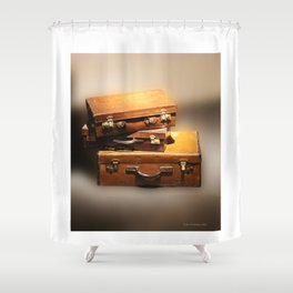 Vintage leather Suitcases Shower Curtain