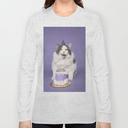 Happy Birthday Fat Cat In Party Hat With Cake Long Sleeve T-shirt