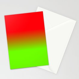 Neon Red and Neon Green Ombré  Shade Color Fade Stationery Cards