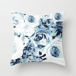Blue White Winter Roses Throw Pillow
