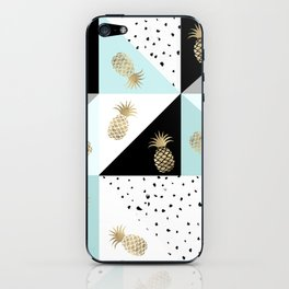 Pastel color block watercolor dots faux gold pineapple iPhone Skin
