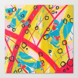 Yellow, pink and blue digital abstract collage design Canvas Print