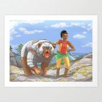 Battle Bear and Girl Art Print
