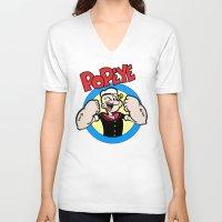 popeye V-neck T-shirts featuring Popeye by idaspark