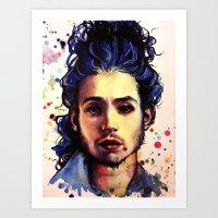 ezra koenig Art Prints featuring Ezra Miller by Olga Noes