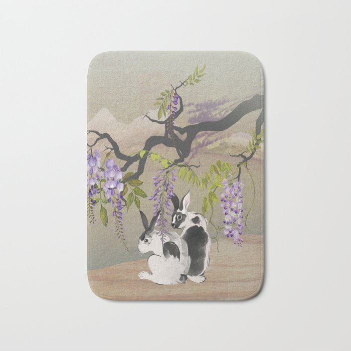 Two Rabbits Under Wisteria Tree Bath Mat