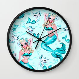 Pinup Mermaid with Merkittens Wall Clock
