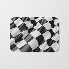 Black and White Waving Racing Flag Bath Mat