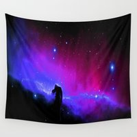 nebula Wall Tapestries featuring nEbulA : Horsehead Nebula Fuchsia & Violet by 2sweet4words Designs