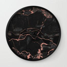 Black Marble and Rose Gold Wall Clock