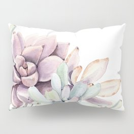 Desert Succulents on White Pillow Sham