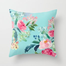 Aqua Blue Watercolor Pink Flowers Throw Pillow