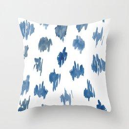 Brushstrokes of blue paint Throw Pillow