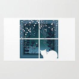White Kitty Cat Window Watcher Rug