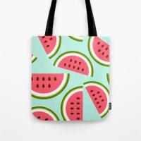watermelon Tote Bags featuring Watermelon by Cute Cute Cute
