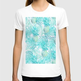 Turquoise Palm Leaves and Pineapples on Pink T-shirt