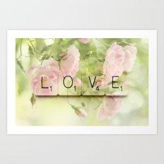Love Scrabble Keys and Roses Art Print