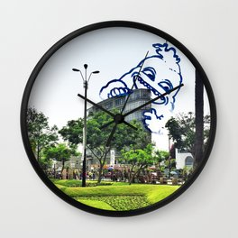 A friend came to visit Miraflores #eclecticart Wall Clock
