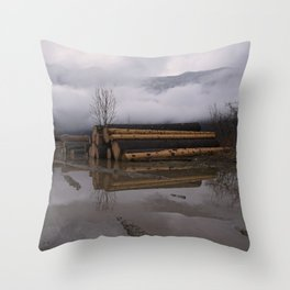Timber Logs With A Foggy Mountain View Throw Pillow